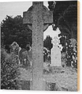 St Kevins Cross High Celtic Cross Grave Stone Glendalough Monastery County Wicklow Republic Of Ireland Wood Print