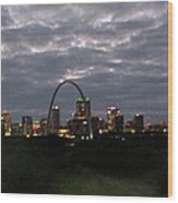 St. Louis Arch At Dusk From The Train Wood Print