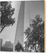 St Louis Arch In The Fog Black And White Wood Print