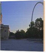 St Louis Basilica And Arch Wood Print
