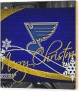 St Louis Blues Christmas Wood Print