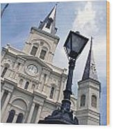 St Louis Cathederal And Lamp Wood Print