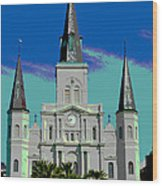 St Louis Cathedral 3 Wood Print