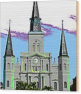 St Louis Cathedral Poster 2 Wood Print