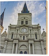 St Louis Cathedral Twilight Wood Print