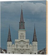 St Louis Cathedral Under Storm Clouds Wood Print