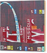 St. Louis Skyline License Plate Art Wood Print