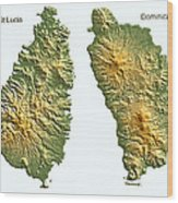 St Lucia And Dominica Map Wood Print