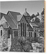 St Malo Chapel On The Rock Colorado Bw Wood Print