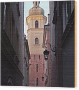 St. Martin's Church Bell Tower In Warsaw Wood Print