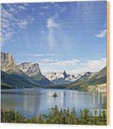 St. Mary Lake And Wild Goose Island Wood Print