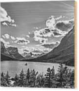 St. Mary Lake Bw Wood Print