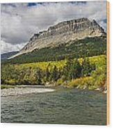 St. Mary River And East Flattop Mountain Wood Print