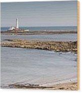 St Marys Lighthouse Across Sandy Bay Wood Print