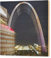 St Ouis Arch Special Zoom Effect Wood Print