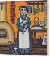 St. Pascual Making Bread Wood Print