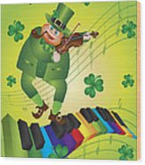 St Patricks Day Leprechaun Dancing On Piano Keyboard Wood Print
