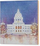 St. Paul Capitol Winter Wood Print