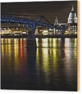 St Pauls And Millenium Bridge Wood Print