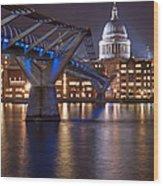 St Pauls And Millennium Bridge Wood Print