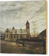 St. Pauls Anglican Church With Wagon  Wood Print