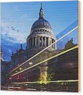 St. Pauls Cathedral And Light Trails Wood Print by Mark Thomas
