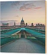 St. Paul's Cathedral And Millennium Bridge In London Wood Print