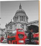 St Pauls Cathedral In London Uk Red Buses In Motion Wood Print