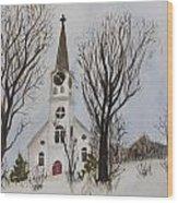 St. Pauls Church In Barton Vt In Winter Wood Print