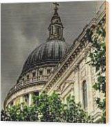 St. Pauls Peeking Through Wood Print