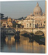 St Peter Morning Glow - Impressions Of Rome Wood Print