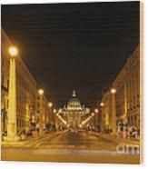 St. Peter's Basilica. Via Della Conziliazione. Rome Wood Print by Bernard Jaubert