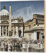 St Peters Square - Vatican Wood Print by Jon Berghoff
