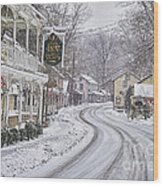St Peters Village Snow 3 Wood Print