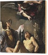 St. Sebastian Succoured By Two Angels Wood Print