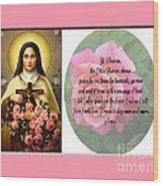 St. Theresa Prayer With Pink Border Wood Print