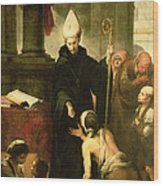 St. Thomas Of Villanueva Distributing Alms, 1678 Oil On Canvas Wood Print