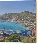 St Thomas Panorama Wood Print by George Oze