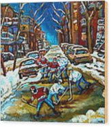 St Urbain Street Boys Playing Hockey Wood Print