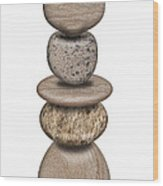 Stack Of Balanced Rocks With Heart Wood Print
