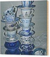 Stack Of Blue Teacups  Wood Print