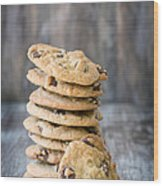 Stack Of Chocolate Chip Cookies With One Leaning Kitchen Art Wood Print
