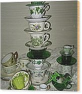 Stack Of Green Teacups  Wood Print