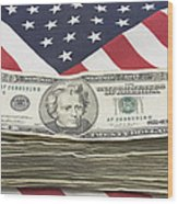 Stack Of Money On American Flag  Wood Print