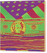 Stack Of Money On American Flag Pop Art Wood Print