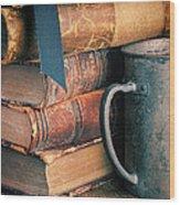 Stack Of Vintage Books Wood Print