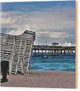 Stacked Beach Chairs Wood Print