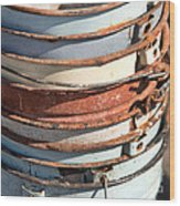 Stacked Buckets Wood Print