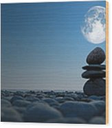 Stacked Stones In Moonlight Wood Print by Aleksey Tugolukov