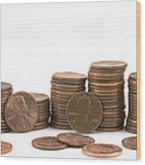 Stacks Of American Pennies White Background Wood Print
